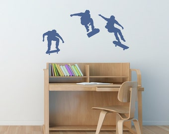 """Skateboarding Wall Art Decal Sticker 24"""" x 12""""-Skateboard Art, Skateboard Decal, Skater Wall Decal, Boys Room Wall Decal, Skateboarding Art"""