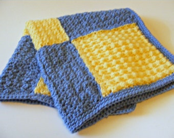 Checkered Crochet Stroller Blanket, Blue and Yellow Blanket, Baby Blanket, Baby Shower Gift, Newborn Blanket, Crochet Blanket