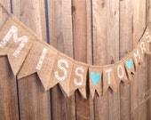 Miss to Mrs Burlap and Lace Banner // Bridal Shower and Wedding Decor // Hearts