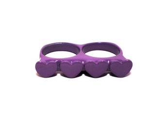 Purple Loveknuckles double knuckle ring heart ring