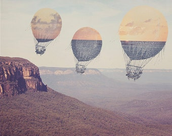 Hot Air Balloons - 8x10 photograph - fine art print - travel photography - Blue Mountains of Australia - mixed media