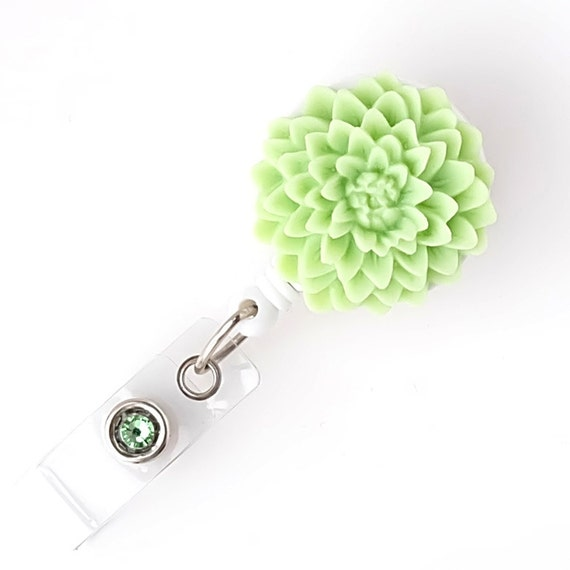 Key Lime Dahlia - Flower Badge Holders - Retractable Badge Reels ...