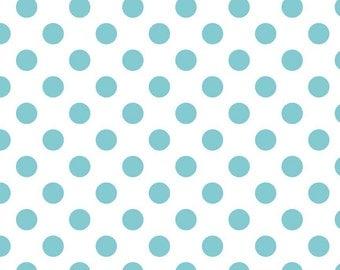 Medium Dots Aqua by Riley Blake Designs  Half Yard Cut - Dots Fabric