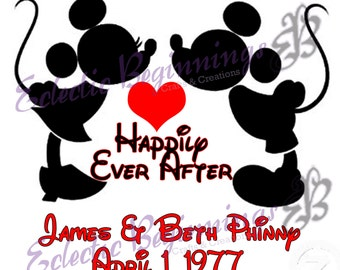 Personalized and Custom Disney Digital File, DIY Print or Iron On-Mickey Mouse Minnie Mouse Kissing Anniversary Wedding
