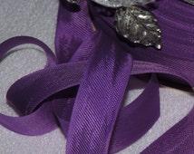 2 Yards. Vintage Lawrence Schiff Silk Mills Woven Edge Rayon Ribbon/Seam Finishing/Binding/Supplies/Crafts/ Scrap booking/ Pansy  Purple