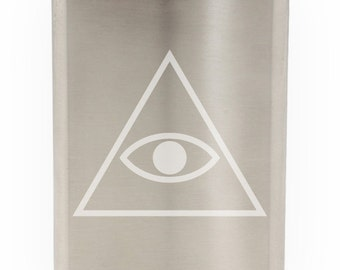 All Seeing Eye Etched 8oz Flask With Funnel