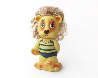 Vintage Cute Lion in a Swimsuit, Soviet Rubber Toy, Summer Toy, Lion Toy