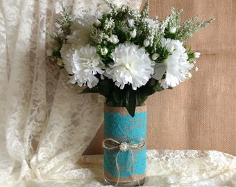 Rustic Turquoise blue lace and natural burlap covered glass vase, wedding, bridal shower, baby shower, tea party table decoration