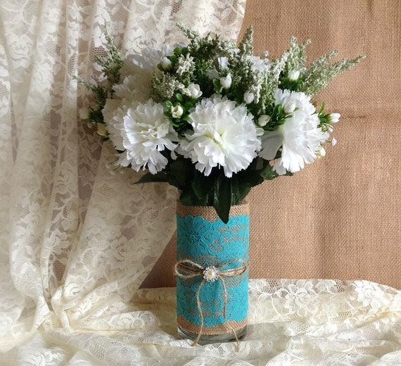 Rustic Turquoise Blue Lace And Natural Burlap Covered Glass