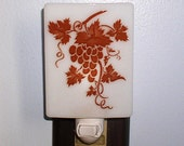 Night Light, Vineyard, Wine, Grapes,  Made In USA, Fused Glass Nightlight, Angels, Lamp, Vintage Image, Kitchen Light, Bar