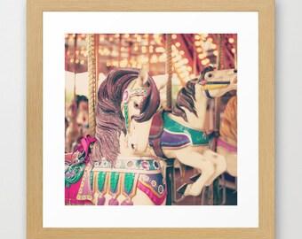 SALE, Carousel horse, carousel, girl nursery decor, large art, large wall art, nursery art, nursery wall art, nursery print, french decor