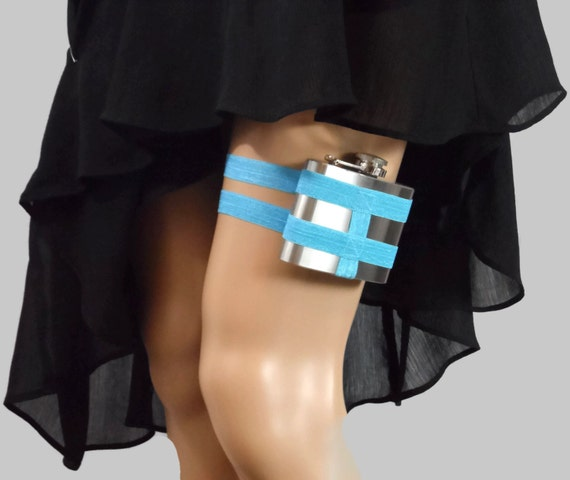 Adjustable Flask Garter 4oz Flask - Bright Sky Blue - something blue, something new, something outrageously fun for you n bridesmaids