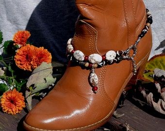 Boot Bracelet With Bone, Stone and Horn Beads