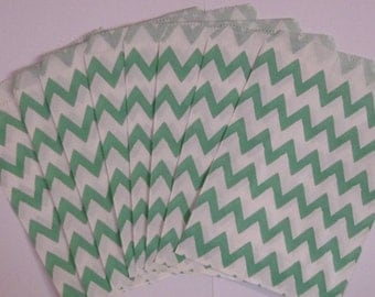 """25 Turquoise and White Chevron Paper Treat Bags- Medium Snack Bitty Bags-Baby Shower Gift Bag- Candy,Treats,Utensil Baggy, Popcorn- 5"""" x 7"""""""