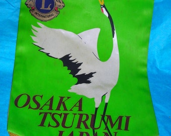 Vintage Lions Club Flag.....Osaka Japan Lions Club.....Whooping Crane.....CO1