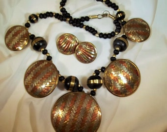 Necklace Earring Set Vintage Hand Forged Woven Copper Brass Wood Beads Statement Necklace Earring Set Exotic Tribal Boho Forest to Runway