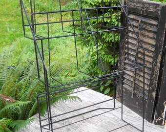 Vintage 1960s Industrial Black Metal Wire Display Mid Century Modern General Store Cottage Kitchen Storage Rack Shelves Wall Pottery Stand