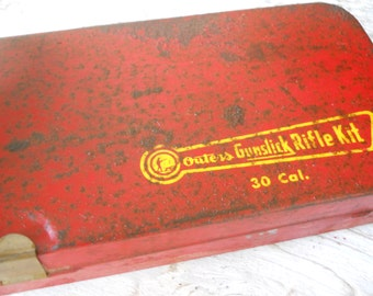 Vintage Outers Rifle Gun Cleaning Kit Advertising Hunting Dog Industrial Red Metal Tool Caddy Tote Primitive Box Cottage Mid Century Modern