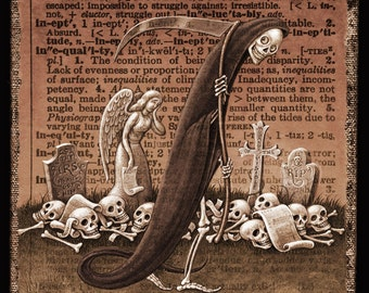 Death & taxes sepia art print 8x8, Ineluctable (Tincture): Grim reaper skeleton fantasy painting, Macabre alphabet letter I, A Word A Day