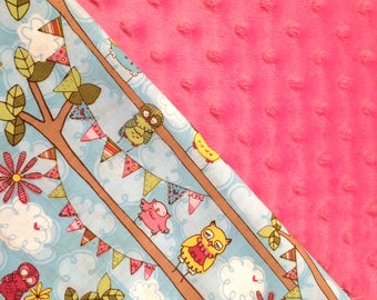 Baby Car Seat Canopy COVER or NURSING Cover: Heidi Grace Owls and Banners with Pink Minky, Personalization Available
