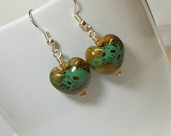 Teal Porcelain Heart Bead Dangle Earring Heart Earring