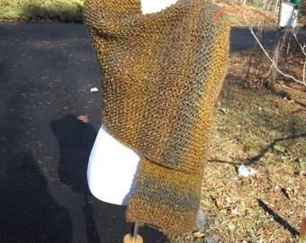 Brown Homespun Handmade Wrap Knit Shawl