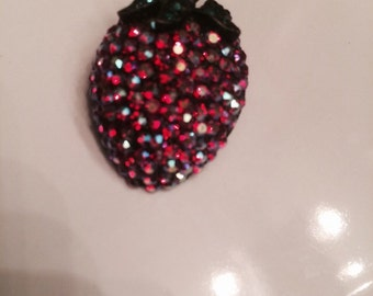 Antique vintage Weiss sparkle crystal strawberry fruit brooch pin summer free shipping signed designer