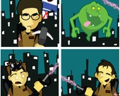 """Ghostbusters in the City - set of 5 Square 8.5"""" Prints with Venkman, Slimer, Stay Puft, Egon, Ray & Winston"""