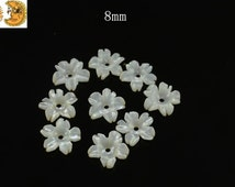 10 pcs of natural White MOP,Mother of pearl carved flower shell bead,button bead,natural shell bead,sea shell bead,pedant bead 8mm