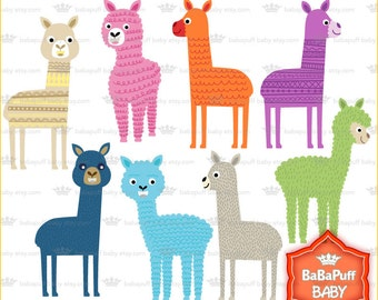 Buy 2 Get 2 Free ---- Baby Alpaca Clip Art ---- Personal and Small Commercial Use ---- BB 0724