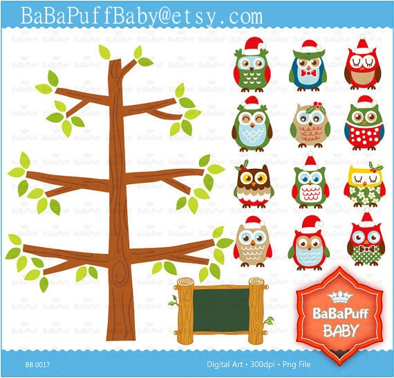 Christmas Owls Clip Art ---- Personal and Small Commercial Use ---- BB 0017