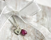 Heart Charm and Pink Sapphire Initial  Necklace   -Delicate Sterling Silver Chain- Monogram Jewelry