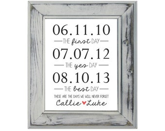 Special Dates - The First Day, The Yes Day, The Best Day - 8x10 Customized Print