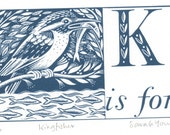 K is for Kingfisher - Alphabet Silkscreen Print
