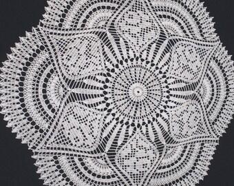 Handmade White Round Crochet Doily: Trailing impatiens