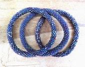 Metallic Blue Beaded Bracelet Set, Seed Beads,Nepal, MB27