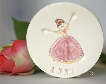 Princess Ceramic Plate Personalized Ceramic Dish Custom Ceramic Flower Girl Ring Dish Pink Pottery