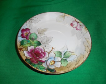 "One (1), 5 3/4"" Hand Painted, Porcelain Tea Cup Saucer, from Chubu China, of Occupied Japan. Floral Pattern with Moriage."