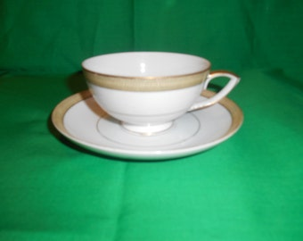 One (1), Porcelain, Footed Tea Cup & Saucer, from Mikasa, in the Bristol 8303 Pattern.
