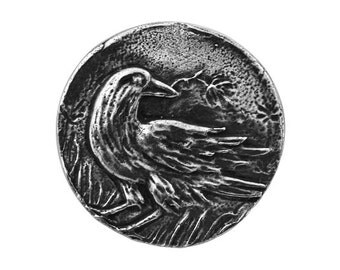 Green Girl Raven 15/16 inch ( 24 mm ) Pewter Metal Button