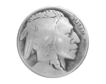 2 Indian Head 1 inch ( 25 mm ) Metal Buttons Antique Silver Color