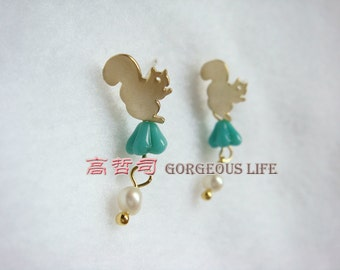 cute  squirrel gold  earings GIFT FOR HER Gold plated over Brass