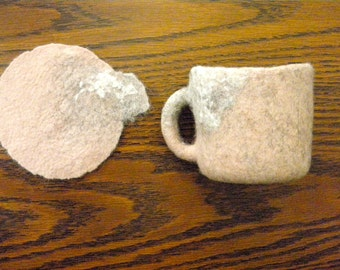 Shell Wool Glass Holder & Glass- Exquisite Cup Holder Coasters, felted wool, Slow design. momoish made.