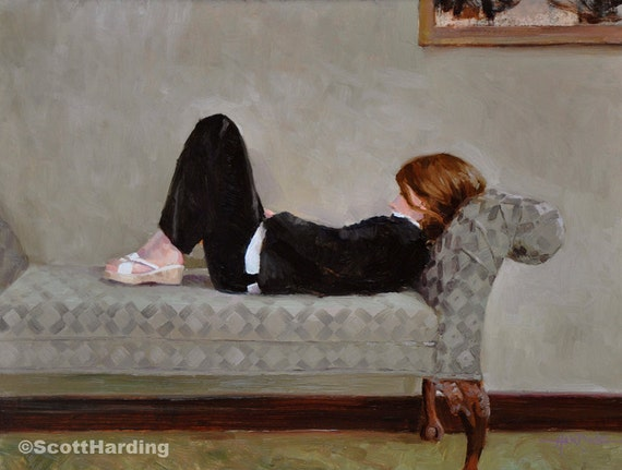 Natalie - 11 x 14 Matted Print - of original painting by Scott Harding of girl in black outfit lying on grey divan, contemplating