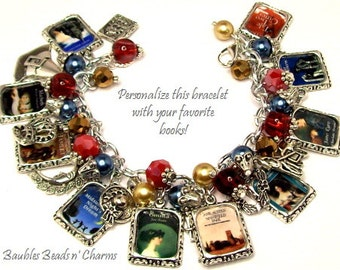 Your Favorite Books Charm Bracelet Jewelry, Personalized Book Charm Bracelet, Custom Books Charm Bracelet, Literary Charm Bracelet