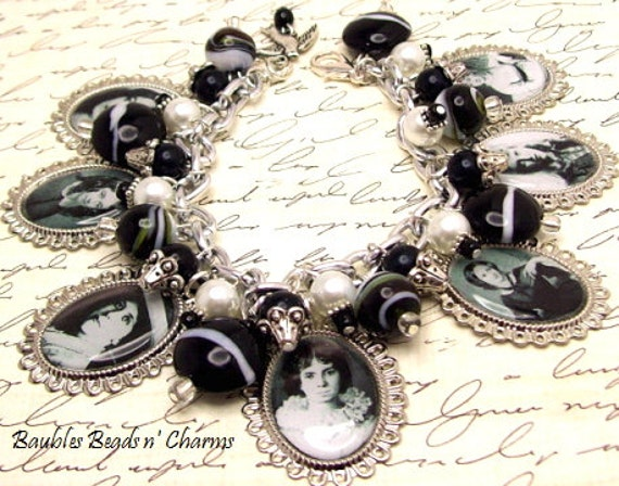 Famous Women Poets Charm Bracelet Jewelry, Literary Charm Bracelet Jewelry, Authors Writers Charm Bracelet Jewelry