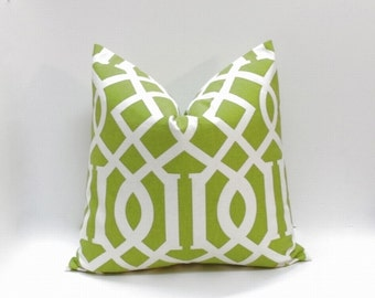 Decorative pillow cover. Apple green large geometric, accent pillows, sofa pillows