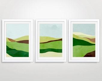 Landscape Art Print Set, Large Wall Art, Abstract Landscape Art, Minimalist Poster, Green Wall Art