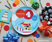Personalized plate - pirate birthday plate
