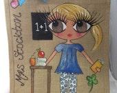 Handpainted Personalised Nursery Nurse Primary School Teacher Jute Handbag Gift Bag Hen Party Celebrity Style
